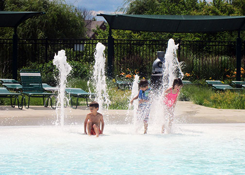 Kids at Splash Park Area of the Aquatic Center
