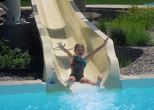 Little Girl on Water Slide