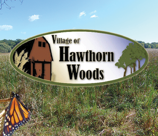 Village of Hawthorn Woods Logo with Butterfly